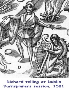 Both Barde, and Harper, is preparde, which by their cunning art, / Doe strike and cheare up all the gestes, with comfort at the hart - John Derricke, Images of Ireland, 1581